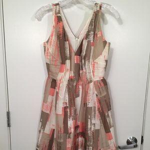 Banana Republic Cream Peach Tea Length Silk Dress